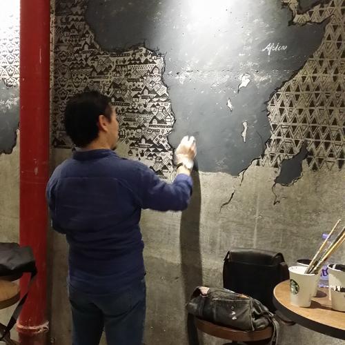 深圳星巴克咖啡馆墙绘图片