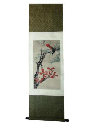 织锦画名人画家红叶花鸟
