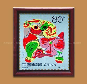 定做蜀锦 羊邮票