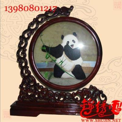 天府蜀绣工艺品奔熊猫