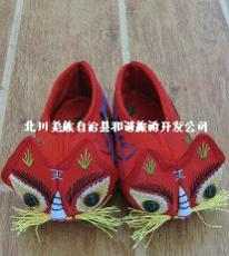 禹羌情民族特色兒童虎頭繡花鞋