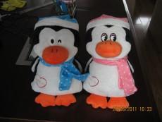 带心跳盒子企鹅炫炫和阳阳毛绒玩具