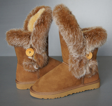 Women Ballent Sheepskin Boot with Raccoon Fur