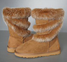 Women Noble Sheepskin boot in Chestnut with raccoon hair