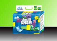 得其利36片M码超薄蓝芯片透气纸尿片 货号 DQL615
