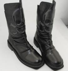 2013秋冬新款 香港超范骷髏頭皺褶牛皮方底圓頭真皮中筒靴短靴