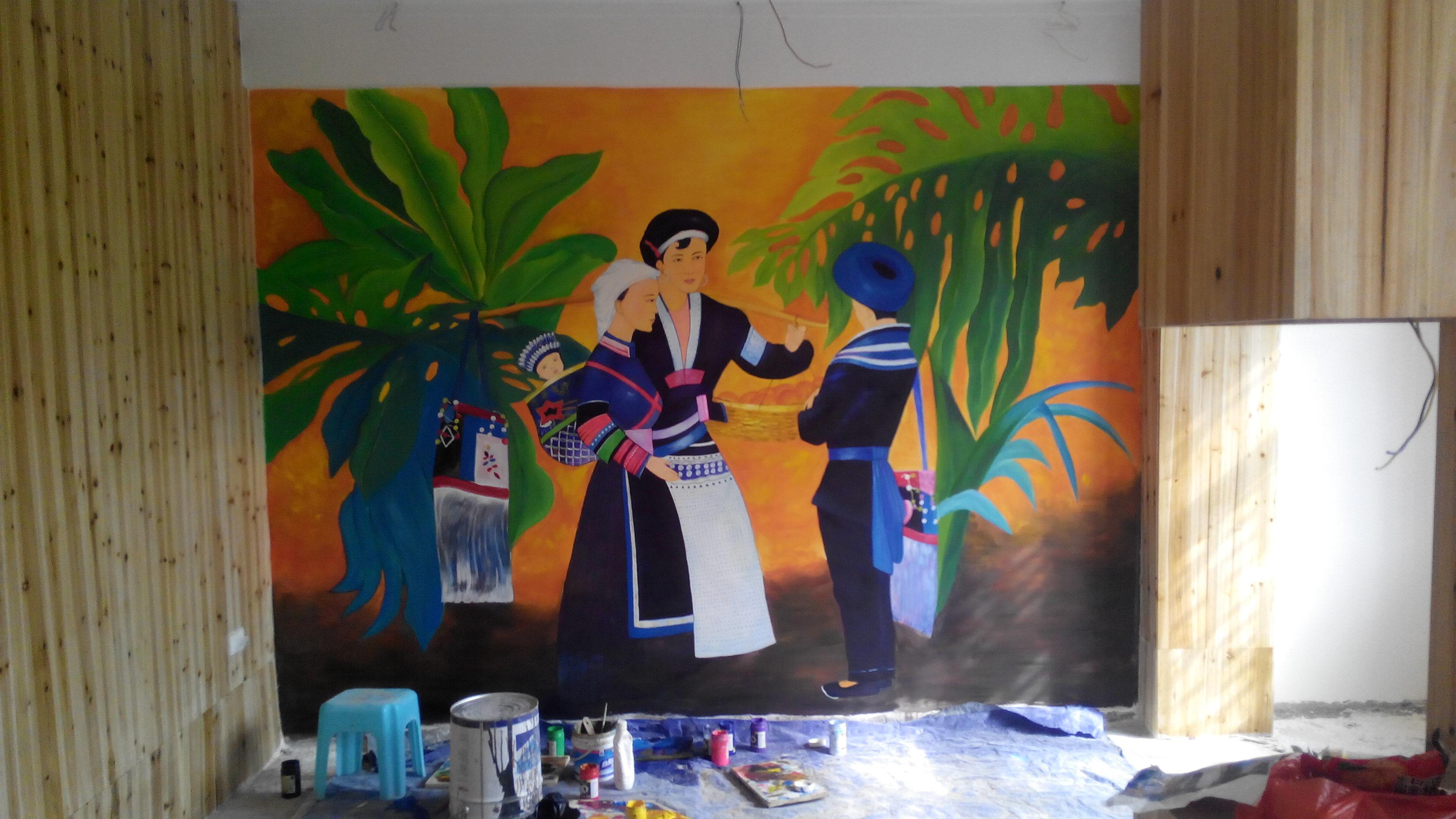 酒店墙画壁画图片