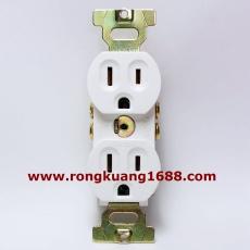 LK3224F 美規暗裝插座 15A 125V 3孔美標插座 5-15R 雙聯母座