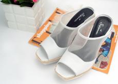2014夏季新款欧美金属跟胎牛皮透气网纱方头个性凉鞋拖鞋