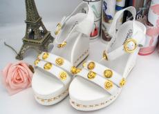 2014夏季新款少女鉚釘露趾清新坡跟金屬鏈頭層牛皮百搭涼鞋