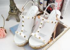 2014夏季新款甜美透气网纱金属铆钉藤草编织坡跟真皮凉鞋