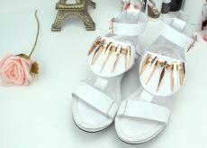 2014夏季新款時尚潮流歐美朋克金屬特色羅馬真皮涼鞋