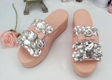 2014夏季新款進口奢華水鉆蝴蝶結小熊牛皮拖鞋真皮涼鞋