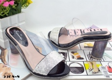 2014夏季爆款奢華水鉆粗跟水晶亮片透明真皮高跟鞋魚嘴涼鞋