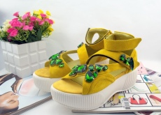 2014夏季新款香港魔术贴水钻镂空特色松糕厚底凉鞋休闲鞋