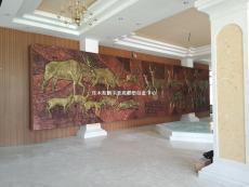 動物浮雕玻璃鋼仿銅浮雕壁畫價格