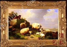 山羊群油画定做