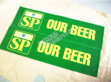 供應環保酒吧墊 廣告吧臺墊 綠色OUR BEER酒吧墊 pvc酒吧墊