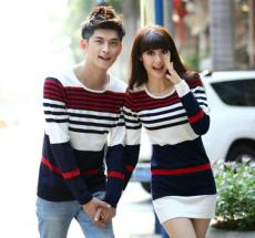 2014年新款條紋毛衣情侶裝