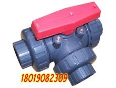 手动PVC三通球阀 Q14F-10S塑料三通换向球阀