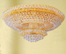 經典七彩LED客廳吸頂黃色圓形水晶燈