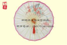 玫红竹梅油纸伞