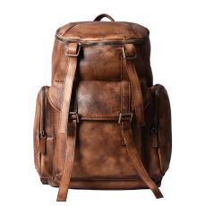 MSDB-B0005 Men s Distressed Full grain cow leather backpack