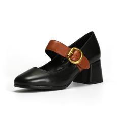 詩加美春季新品真皮方頭淺口粗跟一字扣中跟鞋女鞋牛皮單鞋