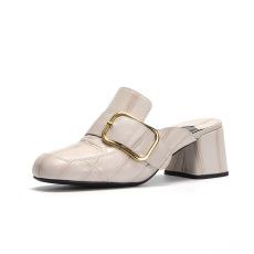 詩加美春夏新款粗跟高跟涼拖鞋女皮帶扣包頭拖鞋時尚穆勒鞋
