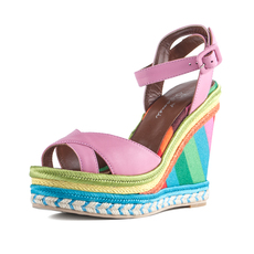 诗加美欧美时尚坡跟露趾编织绑带休闲舒适真皮女凉鞋包邮