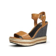 诗加美夏新款 坡跟露趾性感女鞋麻绳防水台中空一字带凉鞋