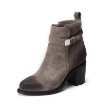 欧美2016秋冬新款磨砂牛皮真皮女靴骑士靴圆头粗跟短靴