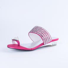 詩加美歐美時尚高端進口羊猄皮優雅捷克方磚女涼拖鞋