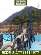 水泥仿木施工 仿木欄桿花架仿真樹大門假樹施工木屋涼亭花架仿木桌子
