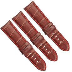 棕咖色国内头层仿鳄鱼皮竹节纹真皮表带