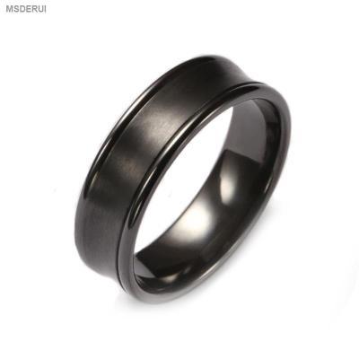 BR1009  Men's Classic Black Zirconium Wedding Ring