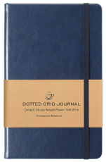 Dotted Grid Notebook/Journal - Dot Grid Hard Cover Notebook, Navy Smooth Faux Leather, 5''×8.25''