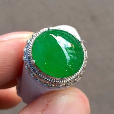 冰種滿色辣陽綠戒面