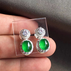 高冰起光滿色陽綠耳釘