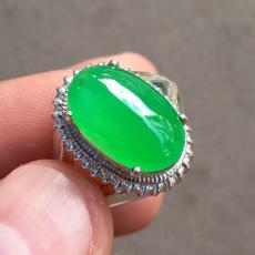 冰種起光滿色陽綠戒面