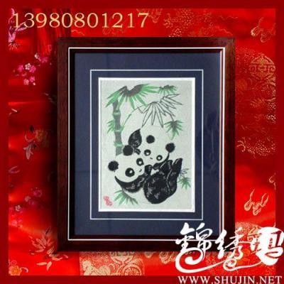 织锦丝绸画,剪纸熊猫