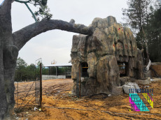 塑石大門施工 采摘園生態園旅游區景區入口假樹制作
